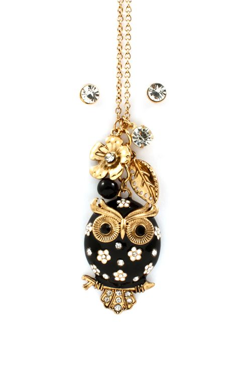 Jet Owl Charm Necklace | Awesome Selection of Chic Fashion Jewelry | Emma Stine Limited