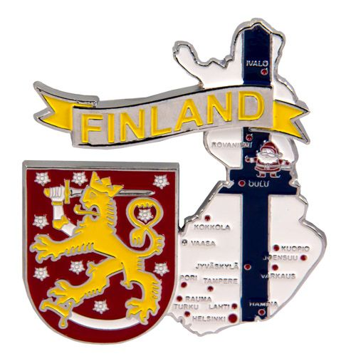 Metal Fridge Magnet: Finland. Map of Finland (Chrome Plating and Enamel)