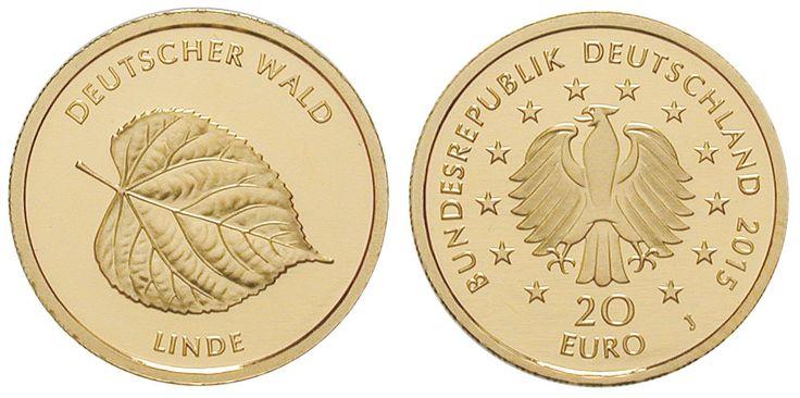 RITTER BRD, 20 Euro 2015 J, Der Deutsche Wald, Linde, 1/8 Unze Gold, st #coins