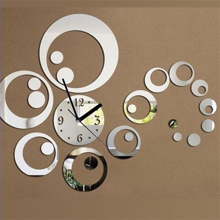 Home Decor Large Decorative Wall Clocks Circle Design Horloge Murale Stickers Mirror Effect Acrylic Glass Large Wall Clocks Klok