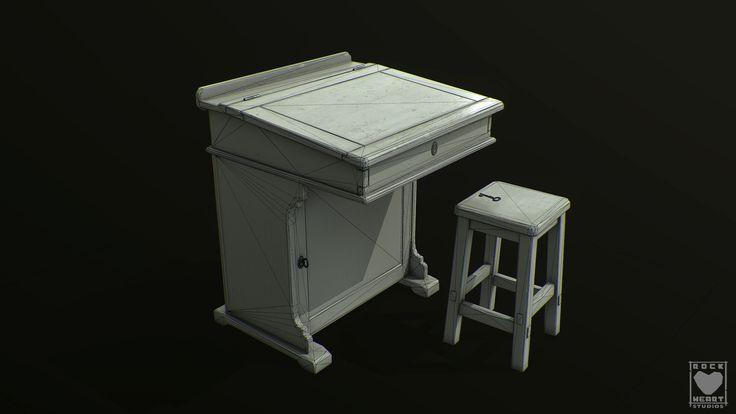 ArtStation - Desk and stool., Rockheart Studios