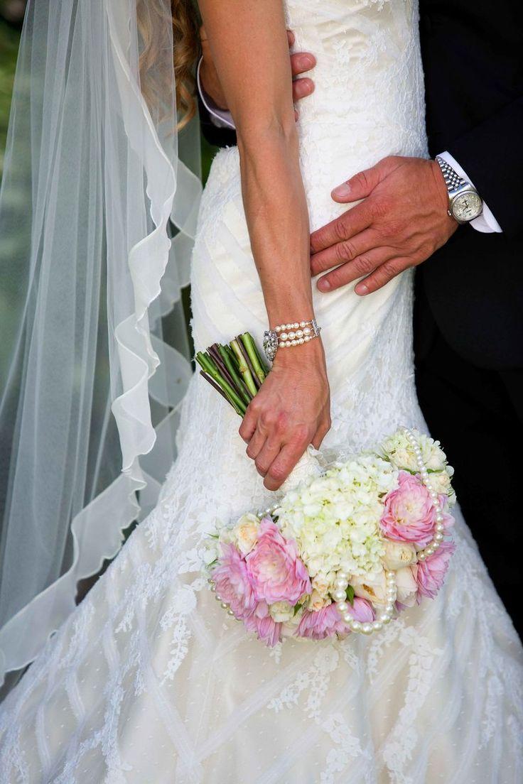Blushing pink and lace wedding dress