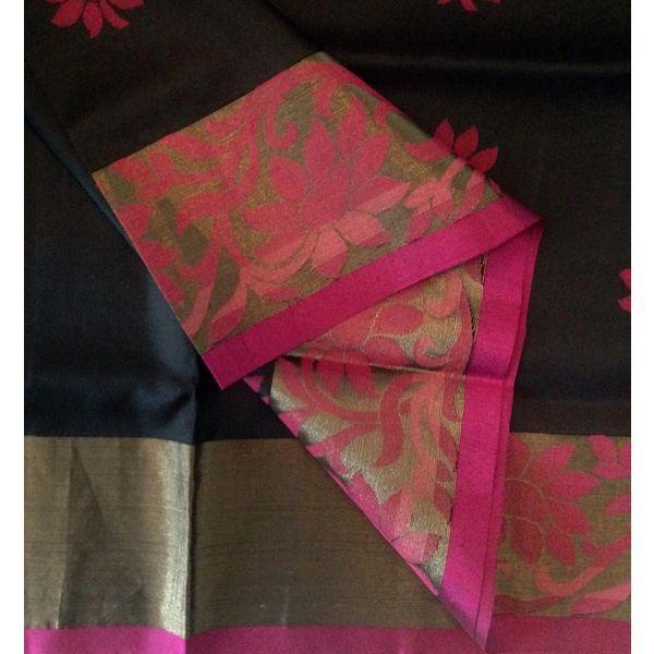 Buy KSS3700012-THAMBOORI's Handwoven Soft kanchivaram silk-Black wine, 750g online - Handwoven Kanchivarams,Soft Silks, Silk Cottons and Tussars!