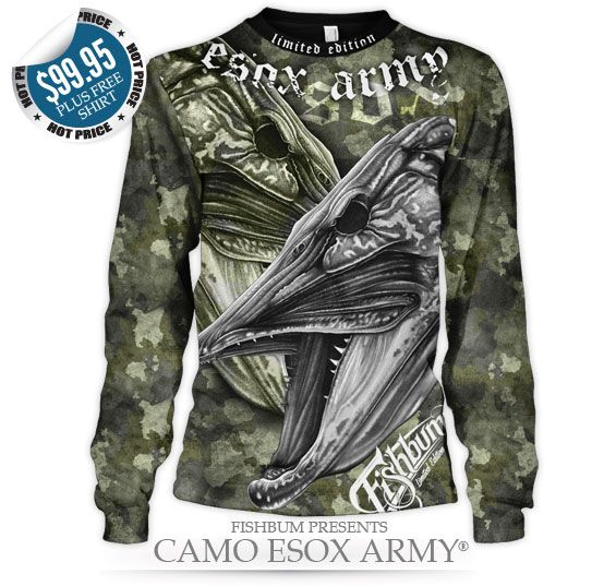 Fishing clothing fishbum musky pike camo esox army for Camo fishing shirt