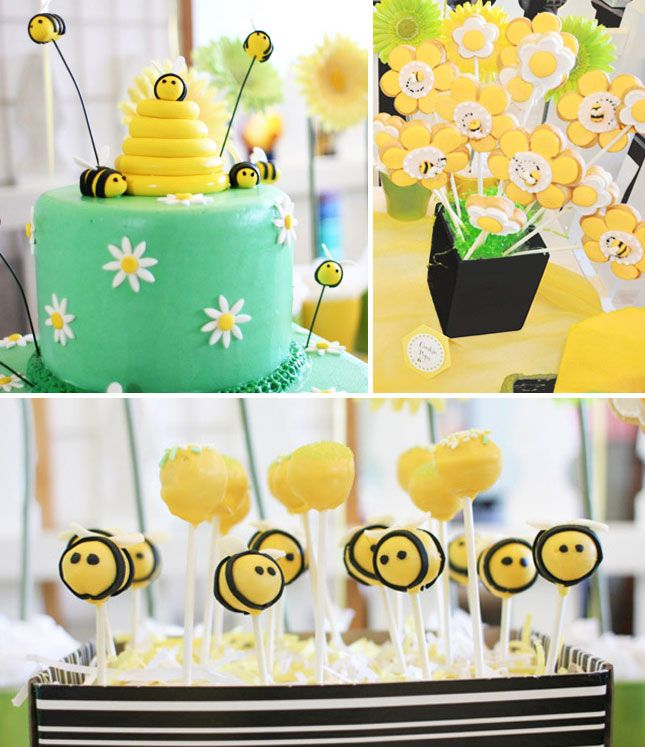 The bee cake pops are so adorable.