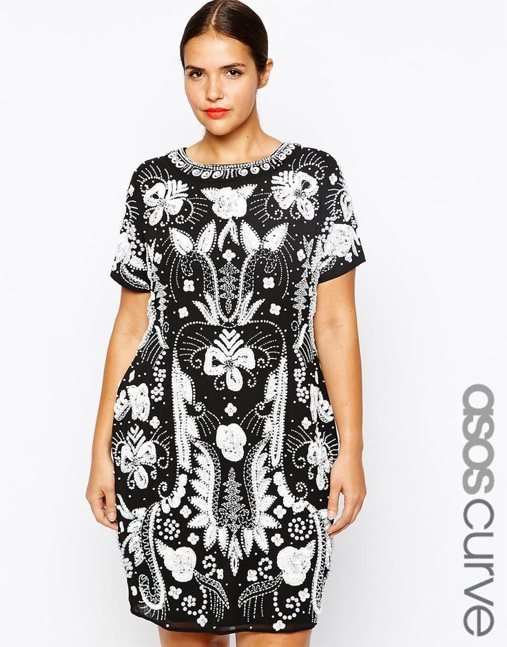 ASOS Curve   ASOS CURVE RED CARPET Exclusive Heavily Embellished Mono Shift Dress at ASOS