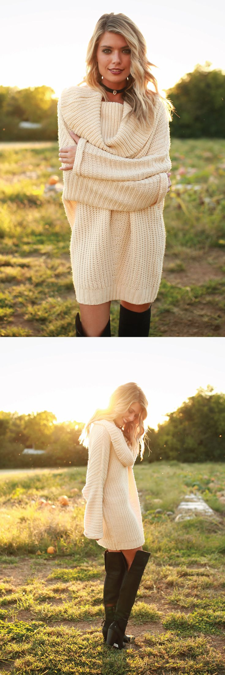 Bundle up, babe! This perfect knit ivory sweater will keep you warm & fashionable all fall long!