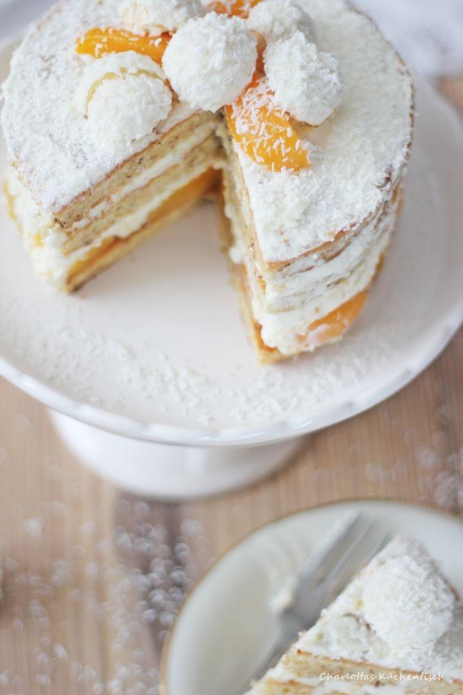 Raffaello-Kokos-Torte, Raffaellotorte, Kokostorte, Raffaello, Aprikose#ichbacksmir #schneegestöber
