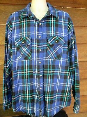 Five-Brother-USA-Made-3XL-Blue-White-Black-Flannel-Shirt-Big-Tall-Plaid-Fall