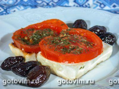 Брынза, запеченная с помидорами (саганаки). Фотография рецепта