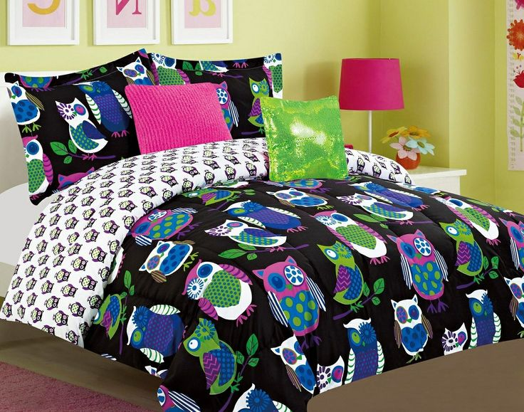 black multi color owl theme childrens or teen bedding set bed in a bag