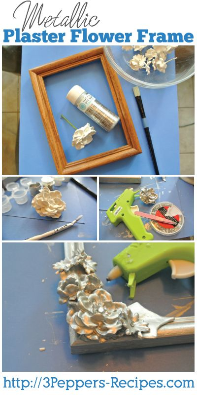 Metallic Plaster-Dipped Flower frame from 3Peppers-Recipes.com