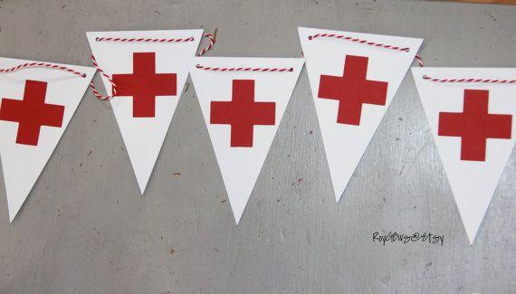 Bandera fiesta de la Cruz Roja  enfermería  salud  médico