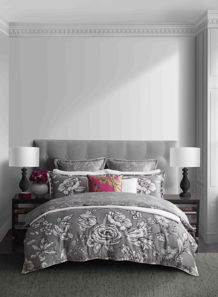WEDGWOOD - Vibrance Silver Quilt Cover Set  #bedroom #decor #bed #style #floral #mint #white #wedgwood
