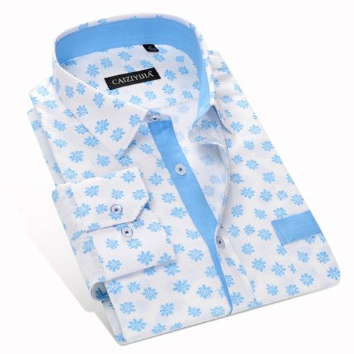 Spring New Men Casual Printed Shirts Patchwork Long Sleeve Non-iron 100% Cotton High Quality Men Floral Dress Shirts