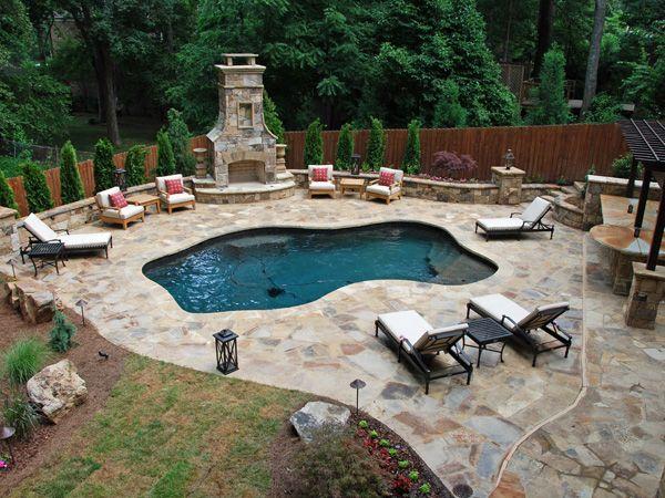 Pool...beautiful Concrete, Outdoor Fireplace, Bar, Love The Half