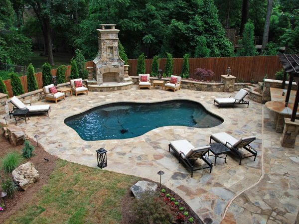 17 best images about pool side decks on pinterest fire for Pool with fireplace