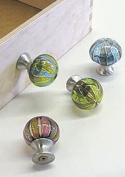 Hand-blown glass drawer knobs by Tracy Glover.