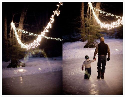 If I had an outdoor ice rink, I would adorn it with strings of lights just like this...