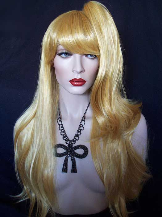 Golden yellow Long Straight Lolita Lori Split Cosplay Tiger clip Wig