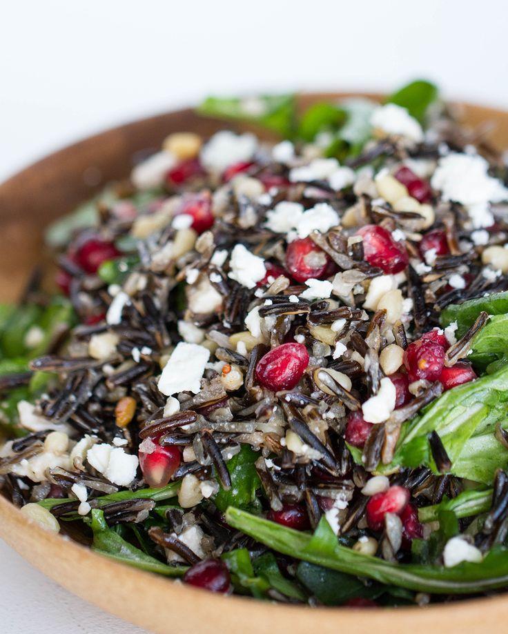 Salada de arroz selvagem e romã