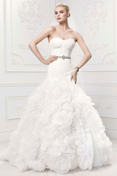 Turn up the drama with a voluminous trumpet flare on your wedding gown | Dress by Truly Zac Posen for David's Bridal