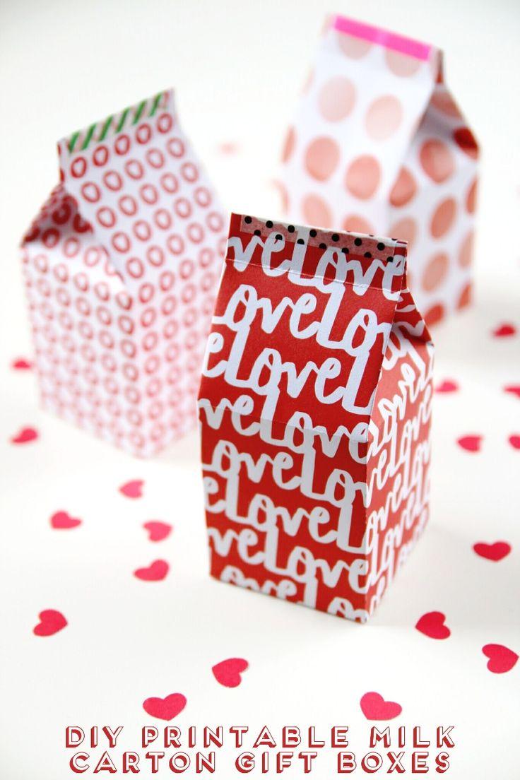 DIY printable milk carton gift boxes