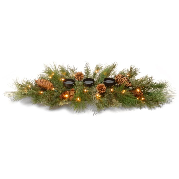 national tree dc13 116 30hb 30 decorative collection white pine centerpiece with candle - White Pine Christmas Tree