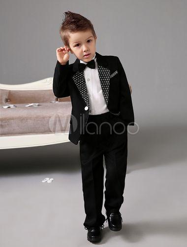 Casaco preto com anel portador terno branco Polka guarnição camisa branca infantil - Milanoo.com