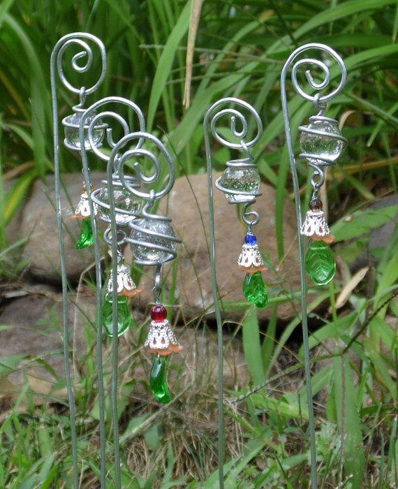 Wire Wrap Plant Stakes Garden Art Whimsy Fairy Garden Tangerine Flowers Green…