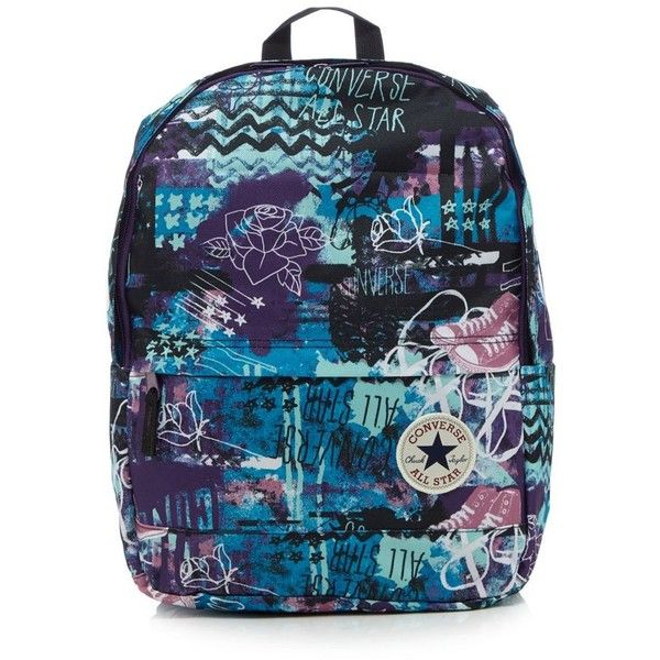 Converse Multi-coloured backpack ($33) ❤ liked on Polyvore featuring bags, backpacks, blue backpack, multicolor bag, multi color backpack, day pack backpack and blue bag