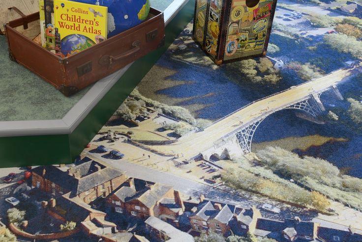 Bespoke carpet tiles under children's hot air balloon feature show aerial photo of Ironbridge, a local beauty spot