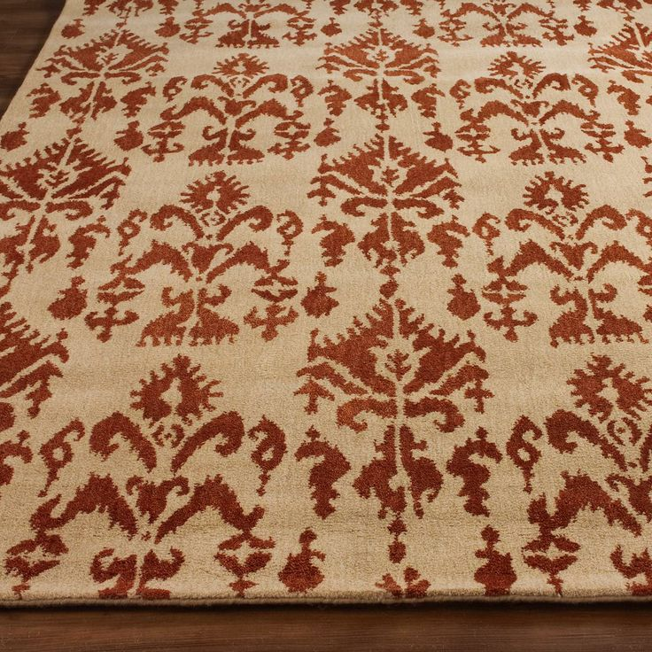 Soho Style Ikat Rug in Red brick on Linen