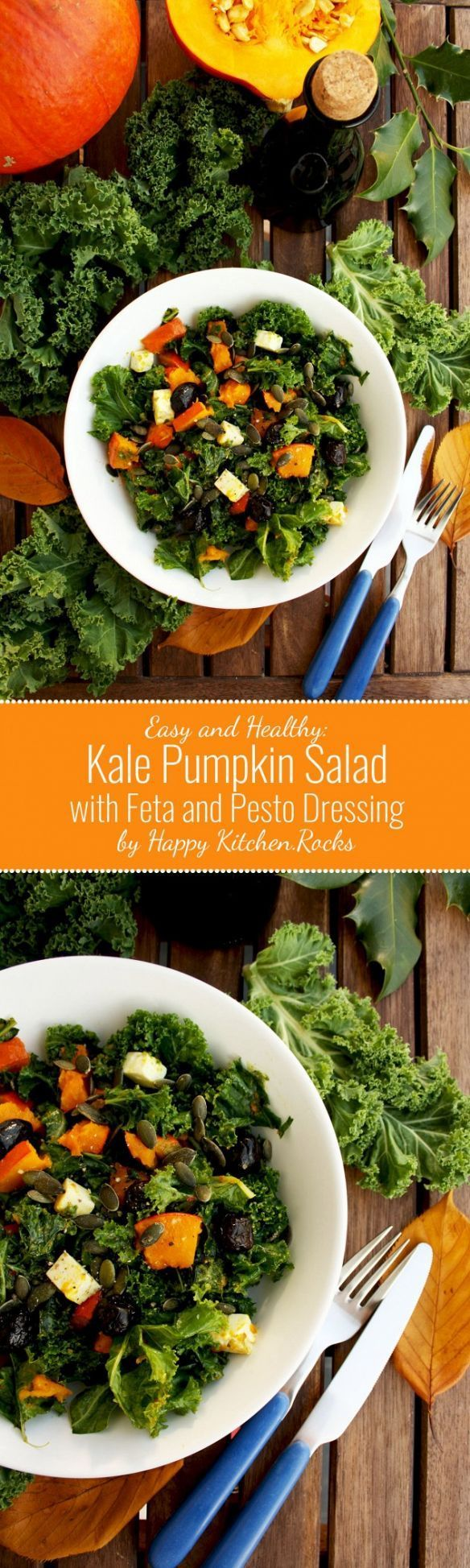Kale Pumpkin Salad with Feta and Pesto Dressing: Easy-to-make, fast, healthy, gluten-free and delicious salad packed with fall flavors. Perfect seasonal salad for your Thanksgiving table!  Seasonal, paleo, low carb, low fat