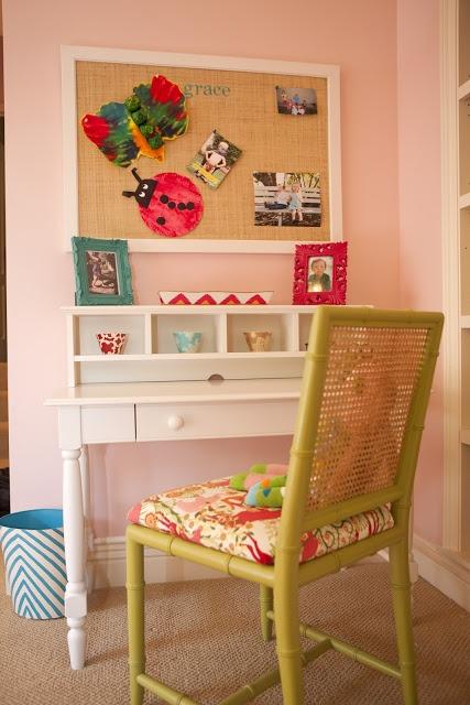 Cute kids desk area. Like the color combo