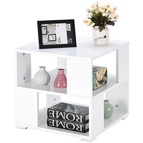 4da446179ae Giantex End Table Bedside Table Modern Wood Square With Shelves Storage  Cube For Bedroom Living Room Side Coffee Table