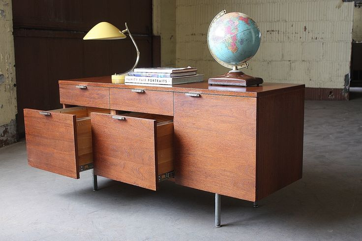 Sure Bet George Nelson Midcentury Modern Lockable Walnut and Chrome Credenza for…