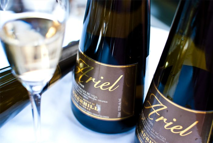 Summerhill Pyramid Winery 1998 Cipes Ariel, Okanagan Valley - This sparkling wine has aromas of apple and lemon. The richness continues on the textured, vibrant palate. This is toasty, buttery and complex, with brioche, green apple and citrus notes. Enjoy with lobster. $85.00