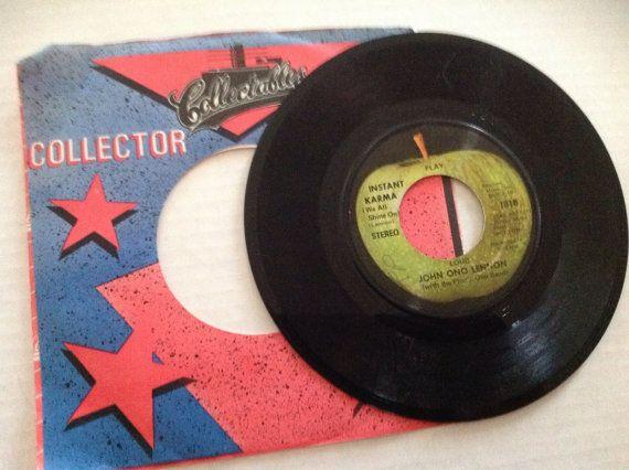 Apple Records - John Ono Lennon - instant karma / we all shine on Beatles 45 record by VinylRocket #TrendingEtsy