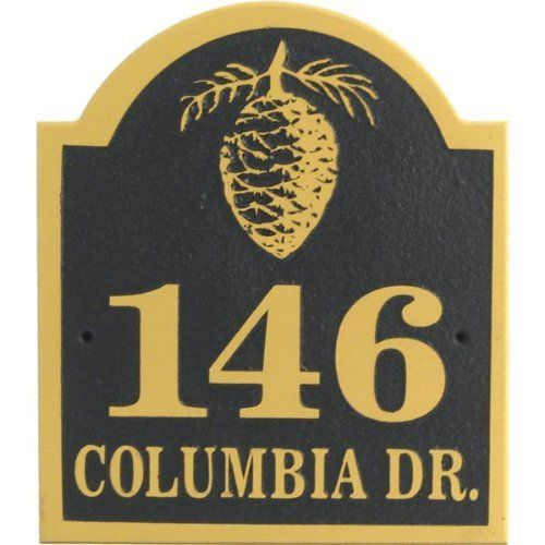 PINECONE ADDRESS PLAQUE by DS. $62.44. Designed for outdoor use. 12''x13''x1.5''. Made of furniture grade hardwood. Hand Made with Pride in America. Personalize your sign with up to 12 characters. Sandblasted address plaque. Made in the USA of exterior grade wood. Personalized with your address. Comes with two brass screws for mounting.. Save 14%!