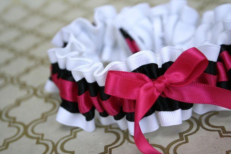 Custom white, black and hot pink wedding garter-by The Garter Girl