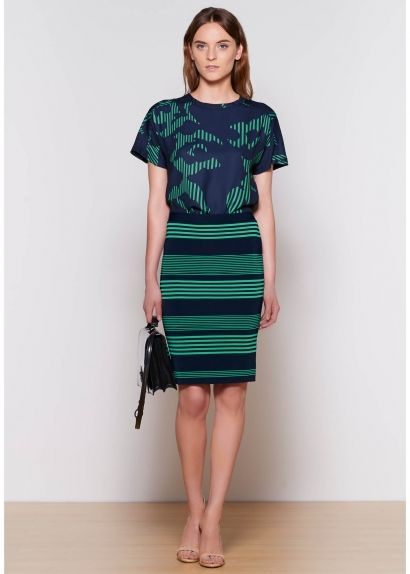 Halston Heritage - Brilliant green & navy - just the mix of color for any occasion!