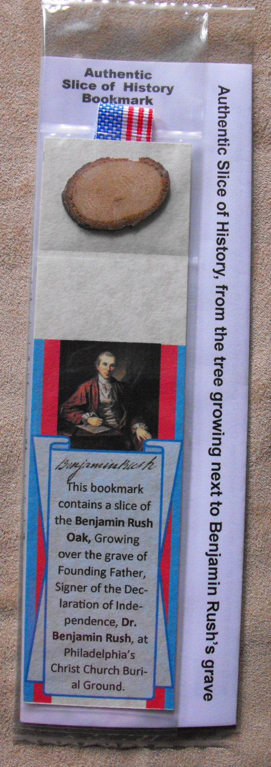 Authentic Slice of History bookmark - Benjamin Rush Oak at Christ Church Burial Ground Philadelphia, (Declaration of Independence signer) by HeirloomGiftPens on Etsy