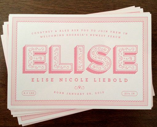 alexliebold_birthann_elise_01: Graphic Design, Baby Announcement, Fonts Typography Letters, Elise Font, Invitation