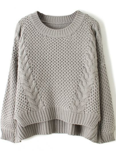 Grey Long Sleeve Cable Knit Dipped Hem Sweater -SheIn(Sheinside) Mobile Site