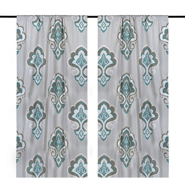 Aqua Mandana Curtain Panel Set, 108 In. ($45) ❤ Liked On Polyvore