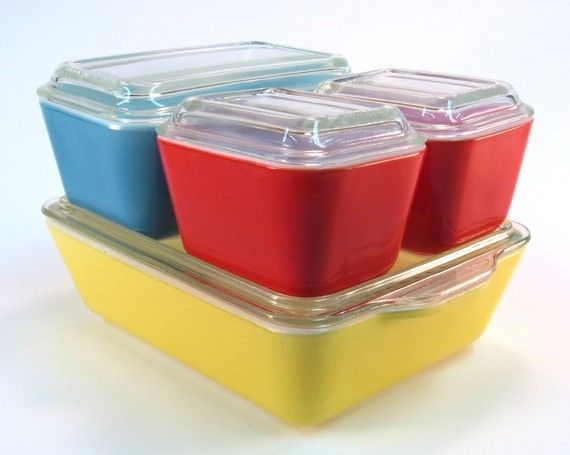 Primary Color Pyrex Refrigerator Vintage Set with Lids-----I had this entire set which was a shower gift in 1949.  All that isl left now is the yellow dish and I still use it all the time.