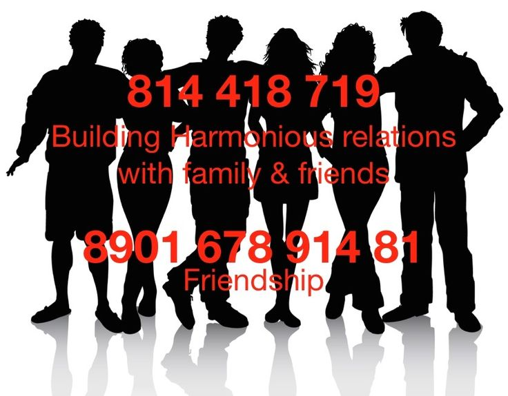 Grabovoi Codes for building harmonious relations with family & friends - 814 418 719 and code for friendship - 8901 678 914 81.