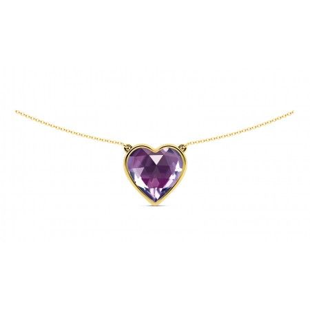 Heart shaped cut purple amethyst pendant on a 18k gold chain that is a perfect anniversary or valentine's gift.