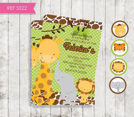 Animal Jungle Safari Invitación Animales por CreativaDesignCo